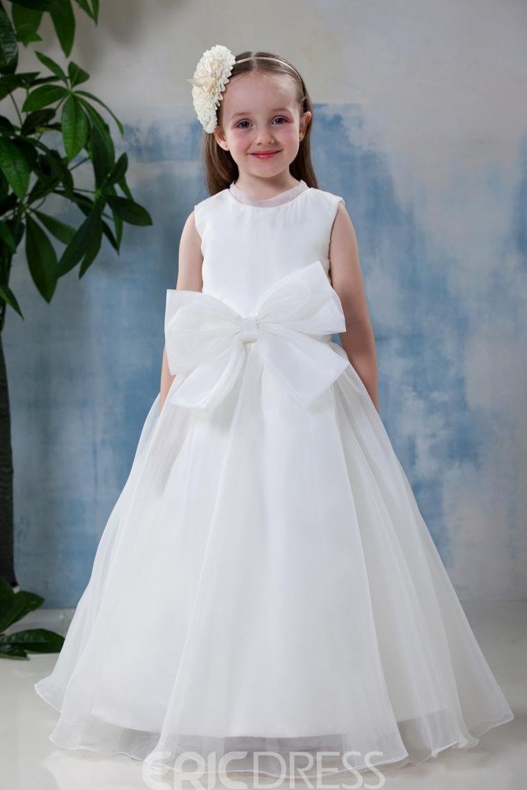 A-line Bateau Knee-Length Flower Girl Dress