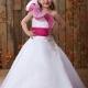 Cute A-line Floral One-shoulder Floor-length Beaded Flower Girl Dress