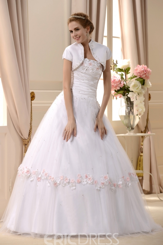Amazing Strapless Floor-length Beaded Wedding Dress With Jacket Shawl