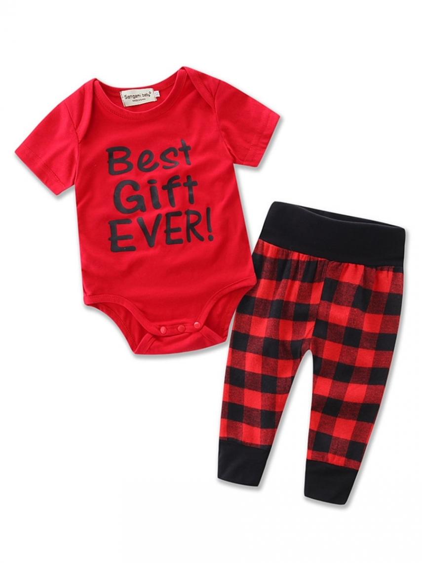 Letter T-shirt Plaid Pants 2-Pcs Girls Outfit