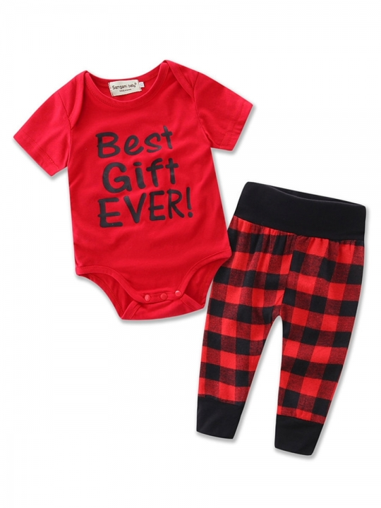 Letter T-shirt Plaid Pants 2-Pcs Girls Outfit