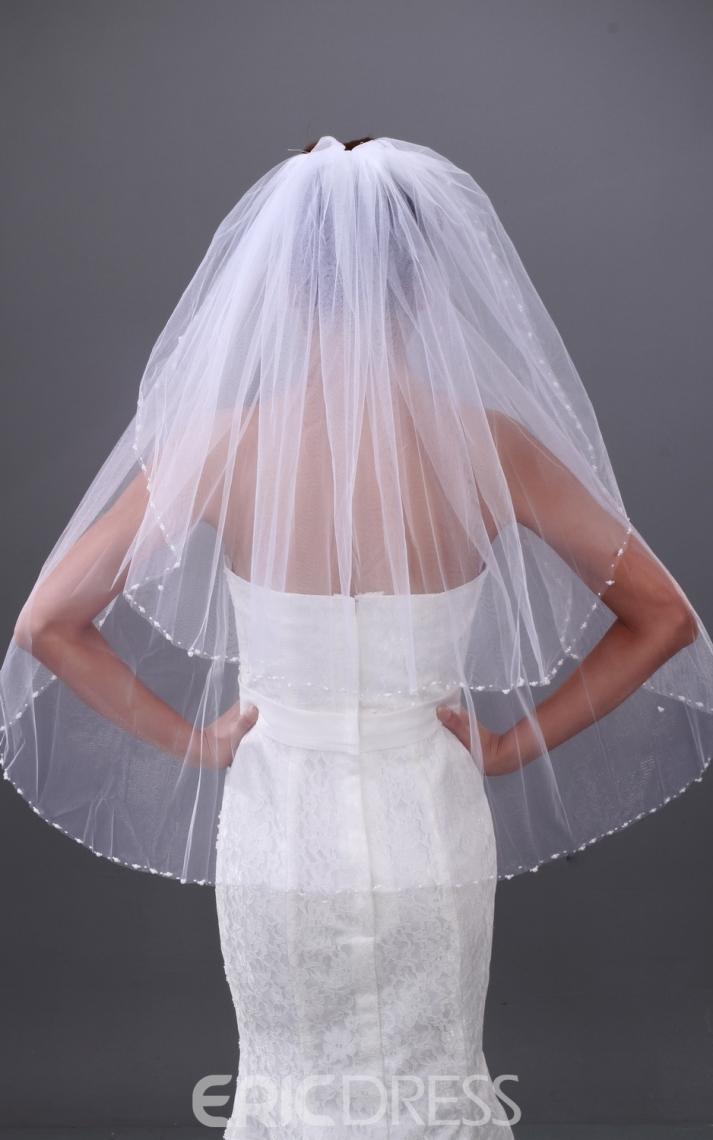 Pretty 2-layer Elbow Wedding Veil